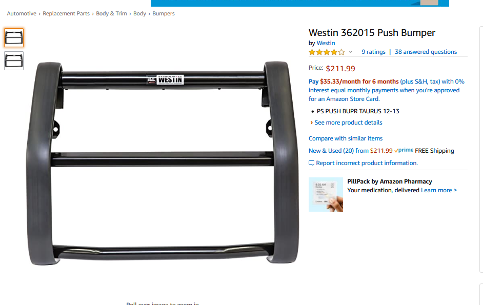 """Amazon Listing : """"Push Bumper"""". (As commonly seen on police and ranger cars.)"""