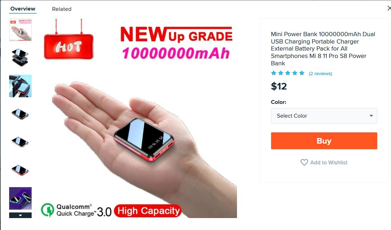 """Wish.com : """"10,000,000mAh"""" battery"""