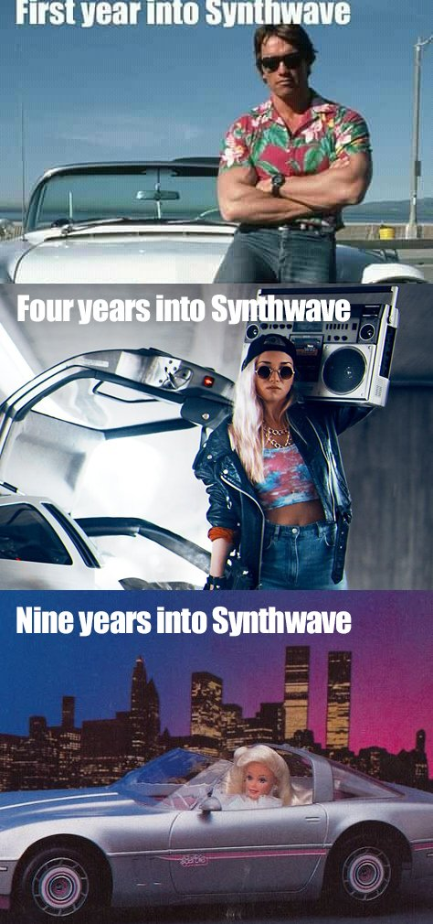First year into synthwave, arnold schwarzenegger leaning against a convertible in a floral shirt. Four years into Synthwave, a woman wearing a leather jacket, dark glasses, with boom box stood by the side of a delorean. Nine years into synthwave, barbie driving a silver convertible with a city nightscape behind her.